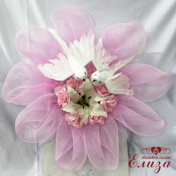 Сватбена украса за кола в розово с гълъби G8